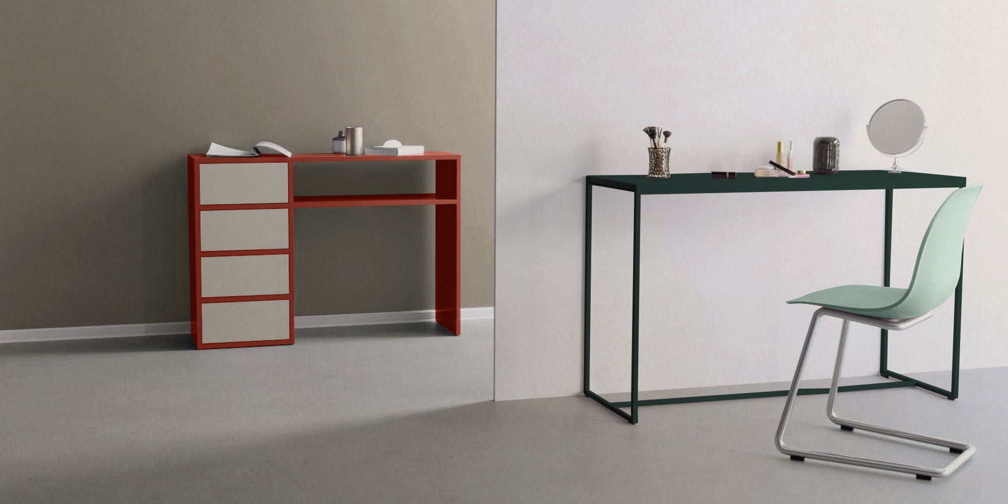 console tables in red and green
