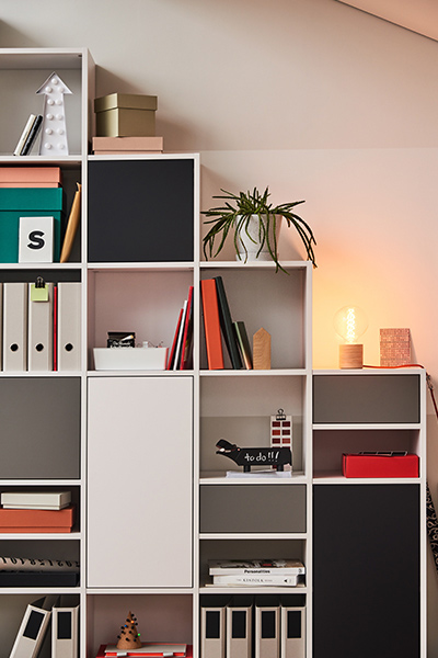 Shelf in white with drawers and doors in black and grey