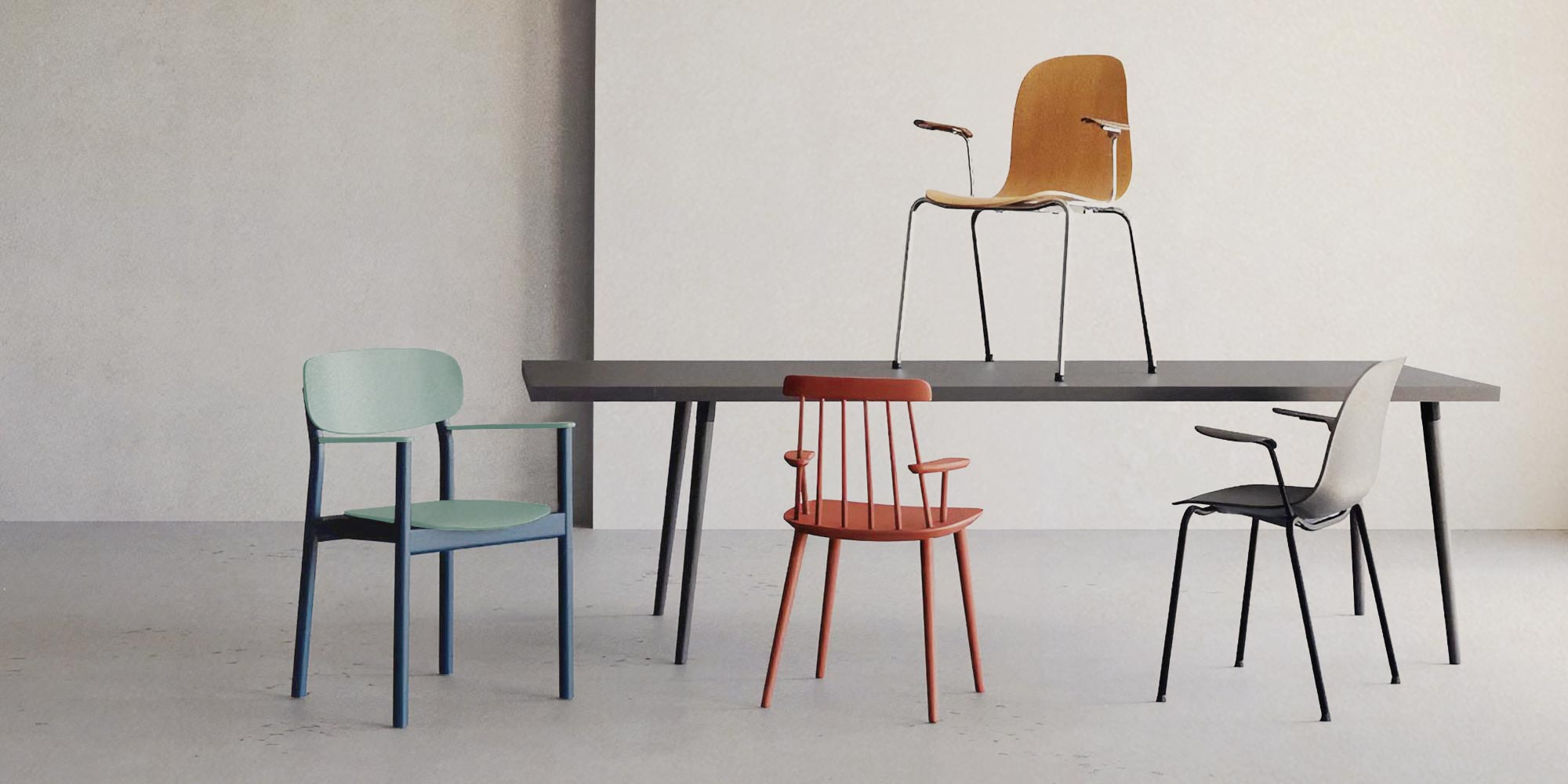 chairs with armrests in different styles and colours