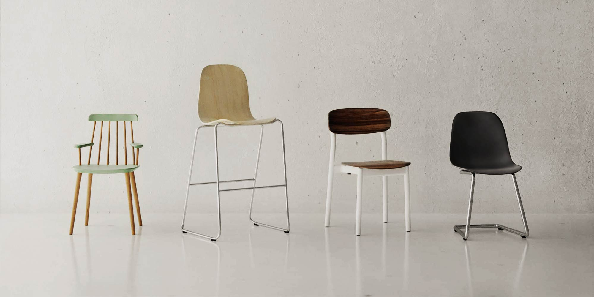 multiple wooden chairs with different leg options