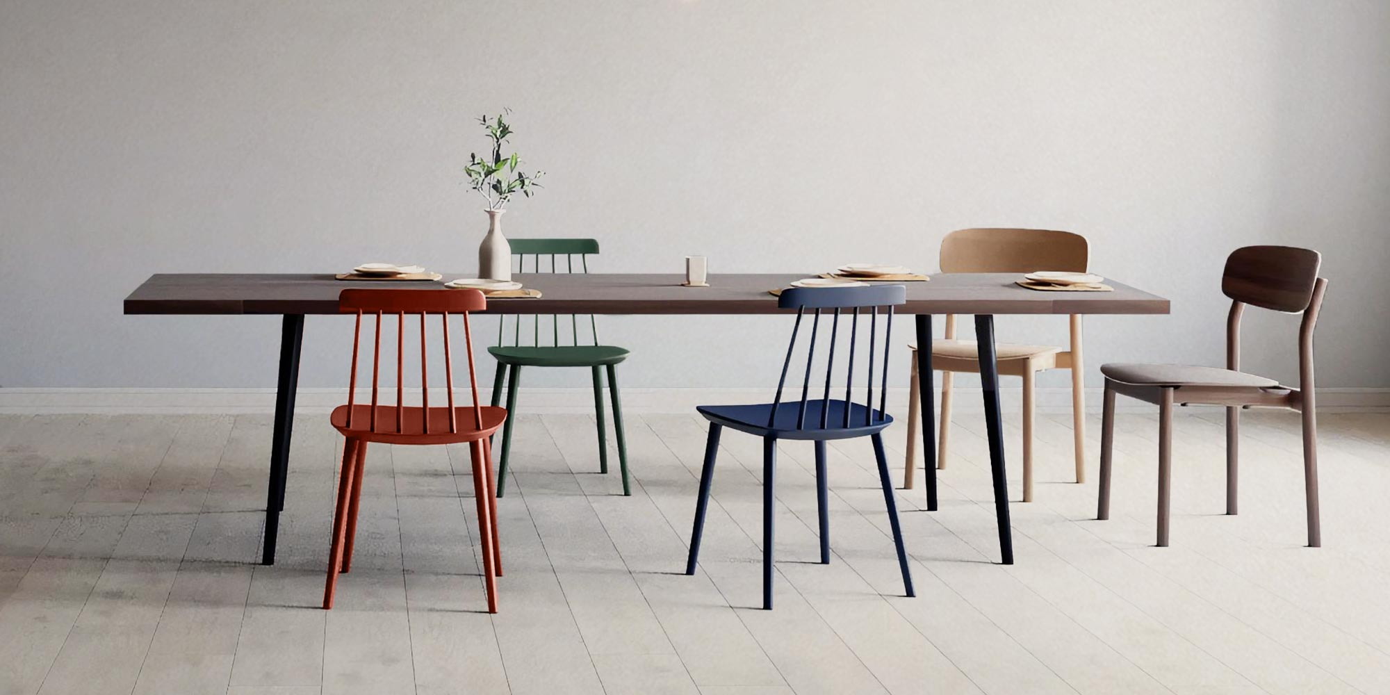 dining chairs with different designs besides a dining table
