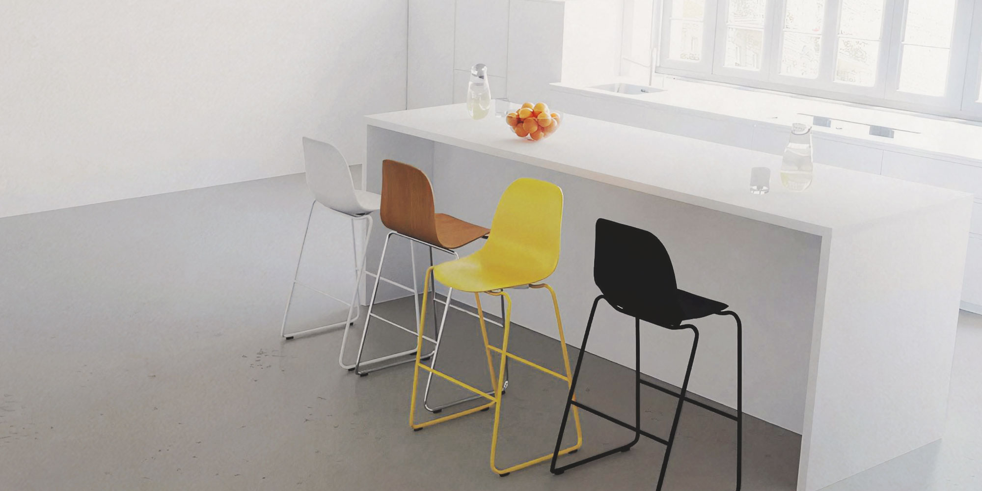 bar stools in white, yellow, black and oak