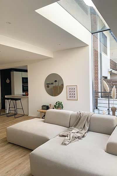 sofa PYLLOW by MYCS in light grey shown in modern interior