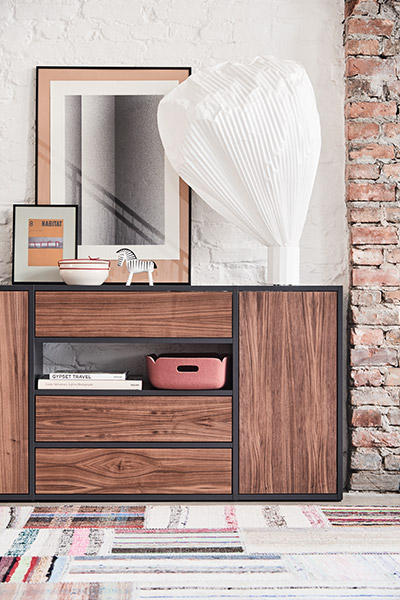 Sideboard in black with three drawers and two big doors in walnut