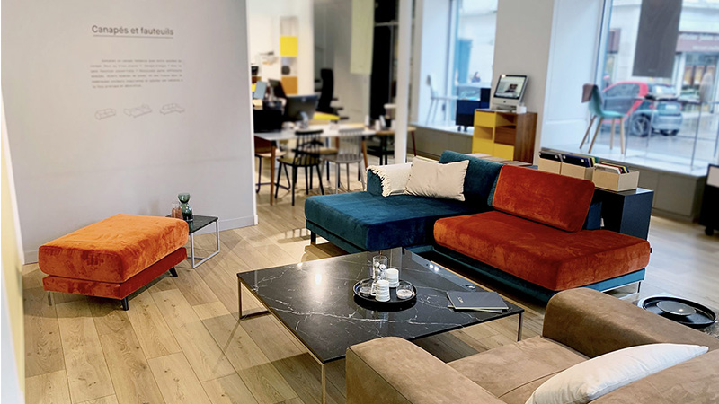 MYCS showroom Paris sofa corner