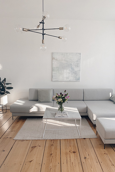 big corner sofa in light grey by MYCS