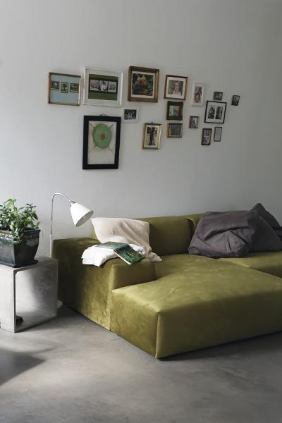 corner sofa PYLLOW by MYCS in olive green velvet