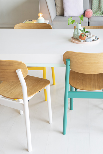colourful CHAYR chairs in oak and lacquered in white, turquoise and yellow by MYCS